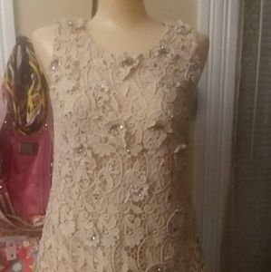 ANN TAYLOR gem and lace top size 0
